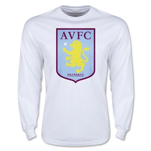 Aston Villa Large Crest LS T-Shirt (White)