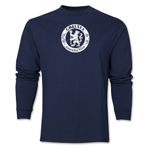 Chelsea Distressed Emblem LS T-Shirt (Navy)