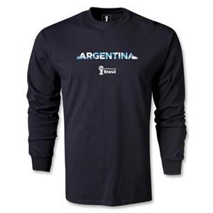 Argentina 2014 FIFA World Cup Brazil(TM) Men's LS Palm T-Shirt (Black)