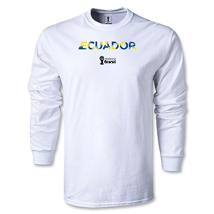 Ecuador 2014 FIFA World Cup Brazil(TM) Men's LS Palm T-Shirt (White)
