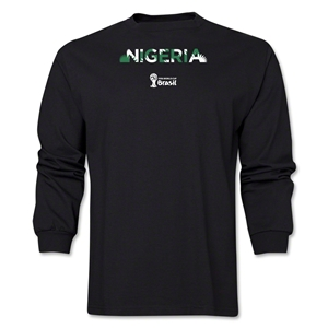 Nigeria 2014 FIFA World Cup Brazil(TM) Men's LS Palm T-Shirt (Black)