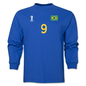 Brazil 2014 FIFA World Cup Brazil(TM) Men's LS Number 9 T-Shirt (Royal)