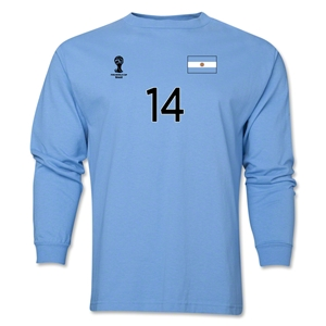 Argentina 2014 FIFA World Cup Brazil(TM) Men's LS Number 14 T-Shirt (Sky)