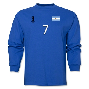Argentina 2014 FIFA World Cup Brazil(TM) Men's LS Number 7 T-Shirt (Royal)