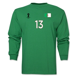 Algeria 2014 FIFA World Cup Brazil(TM) Men's LS Number 13 T-Shirt (Green)
