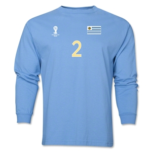 Uruguay 2014 FIFA World Cup Brazil(TM) Men's LS Number 2 T-Shirt (Sky)