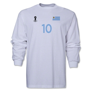 Uruguay 2014 FIFA World Cup Brazil(TM) Men's LS Number 10 T-Shirt (White)