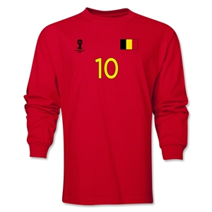 Belgium 2014 FIFA World Cup Brazil(TM) Men's LS Number 10 T-Shirt (Red)