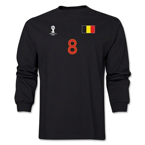 Belgium 2014 FIFA World Cup Brazil(TM) Men's LS Number 8 T-Shirt (Black)