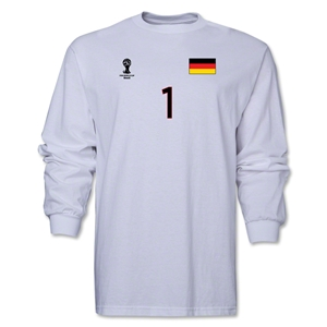 Germany 2014 FIFA World Cup Brazil(TM) Men's LS Number 1 T-Shirt (White)