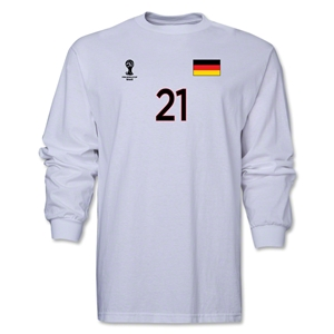 Germany 2014 FIFA World Cup Brazil(TM) Men's LS Number 21 T-Shirt (White)