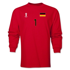 Germany 2014 FIFA World Cup Brazil(TM) Men's LS Number 1 T-Shirt (Red)