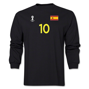 Spain 2014 FIFA World Cup Brazil(TM) Men's LS Number 10 T-Shirt (Black)
