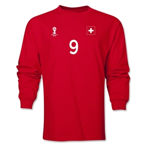 Switzerland 2014 FIFA World Cup Brazil(TM) Men's LS Number 9 T-Shirt (Red)