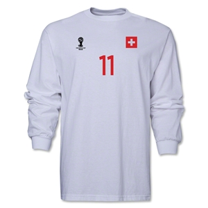 Switzerland 2014 FIFA World Cup Brazil(TM) Men's LS Number 11 T-Shirt (White)