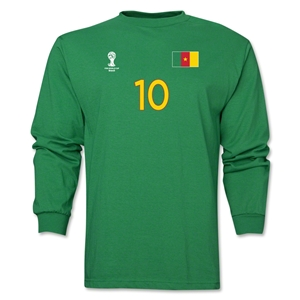 Cameroon 2014 FIFA World Cup Brazil(TM) Men's LS Number 10 T-Shirt (Green)