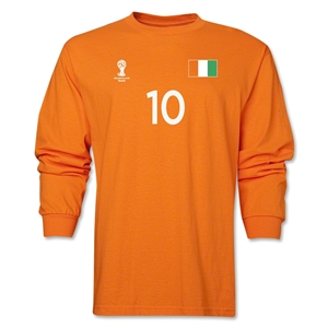 Cote d'Ivoire 2014 FIFA World Cup Brazil(TM) Men's LS Number 10 T-Shirt (Orange)