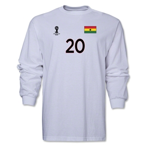 Ghana 2014 FIFA World Cup Brazil(TM) Men's LS Number 20 T-Shirt (White)