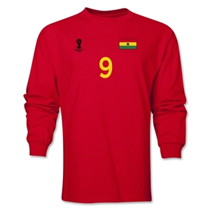 Ghana 2014 FIFA World Cup Brazil(TM) Men's LS Number 9 T-Shirt (Red)