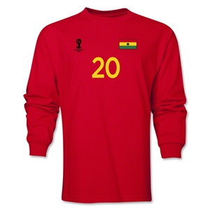 Ghana 2014 FIFA World Cup Brazil(TM) Men's LS Number 20 T-Shirt (Red)