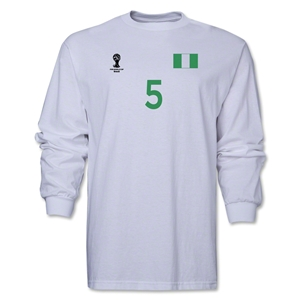 Nigeria 2014 FIFA World Cup Brazil(TM) Men's LS Number 5 T-Shirt (White)