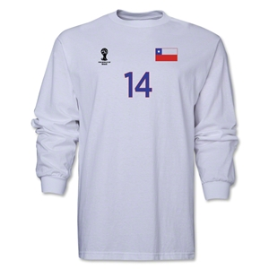 Chile 2014 FIFA World Cup Brazil(TM) Men's LS Number 14 T-Shirt (White)