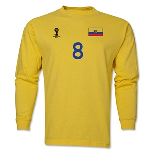 Ecuador 2014 FIFA World Cup Brazil(TM) Men's LS Number 8 T-Shirt (Yellow)