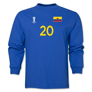Ecuador 2014 FIFA World Cup Brazil(TM) Men's LS Number 20 T-Shirt (Royal)