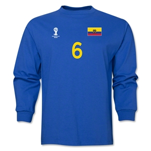 Ecuador 2014 FIFA World Cup Brazil(TM) Men's LS Number 6 T-Shirt (Royal)