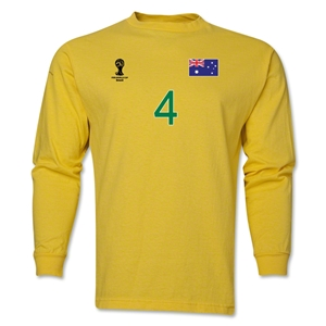 Australia 2014 FIFA World Cup Brazil(TM) Men's LS Number 4 T-Shirt (Yellow)