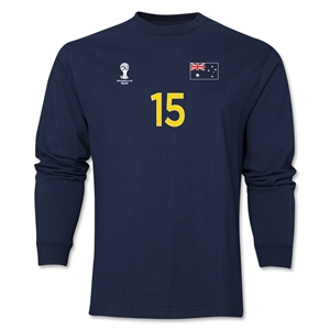 Australia 2014 FIFA World Cup Brazil(TM) Men's LS Number 15 T-Shirt (Navy)