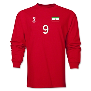 Iran 2014 FIFA World Cup Brazil(TM) Men's LS Number 9 T-Shirt (Red)