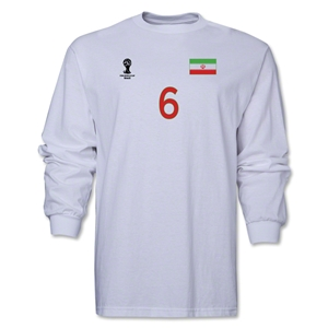 Iran 2014 FIFA World Cup Brazil(TM) Men's LS Number 6 T-Shirt (White)