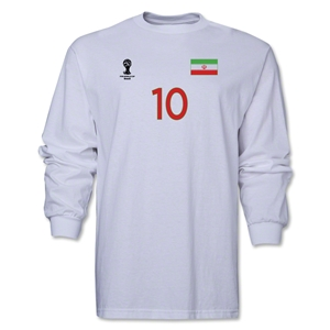 Iran 2014 FIFA World Cup Brazil(TM) Men's LS Number 10 T-Shirt (White)