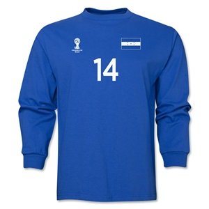 Honduras 2014 FIFA World Cup Brazil(TM) Men's LS Number 14 T-Shirt (Royal)