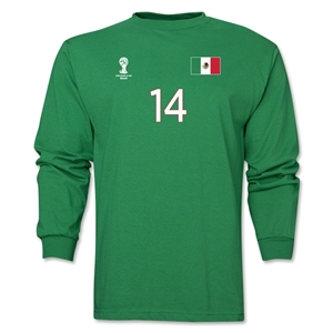 Mexico 2014 FIFA World Cup Brazil(TM) Men's LS Number 14 T-Shirt (Green)