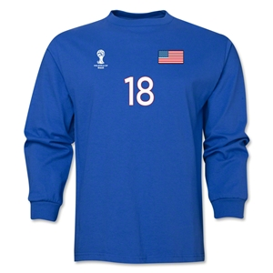USA 2014 FIFA World Cup Brazil(TM) Men's LS Number 18 T-Shirt (Royal)