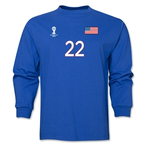 USA 2014 FIFA World Cup Brazil(TM) Men's LS Number 22 T-Shirt (Royal)