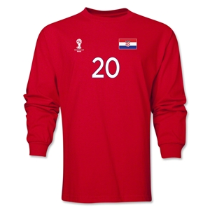 Croatia 2014 FIFA World Cup Brazil(TM) Men's LS Number 20 T-Shirt (Red)