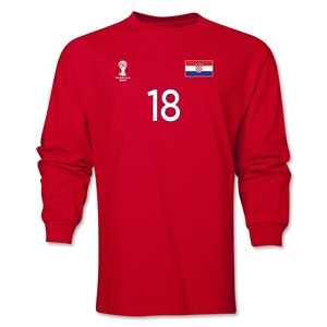 Croatia 2014 FIFA World Cup Brazil(TM) Men's LS Number 18 T-Shirt (Red)