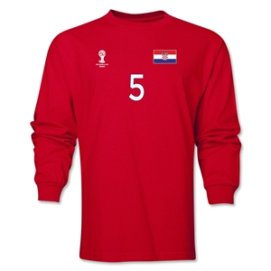 Croatia 2014 FIFA World Cup Brazil(TM) Men's LS Number 5 T-Shirt (Red)