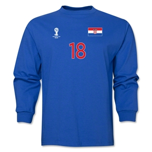 Croatia 2014 FIFA World Cup Brazil(TM) Men's LS Number 18 T-Shirt (Royal)