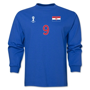 Croatia 2014 FIFA World Cup Brazil(TM) Men's LS Number 9 T-Shirt (Royal)