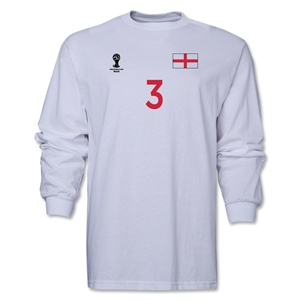England 2014 FIFA World Cup Brazil(TM) Men's LS Number 3 T-Shirt (White)