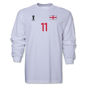 England 2014 FIFA World Cup Brazil(TM) Men's LS Number 11 T-Shirt (White)