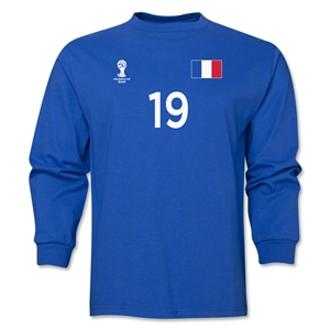 France 2014 FIFA World Cup Brazil(TM) Men's LS Number 19 T-Shirt (Royal)