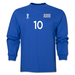 Greece 2014 FIFA World Cup Brazil(TM) Men's LS Number 10 T-Shirt (Royal)