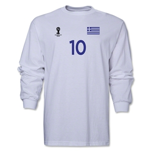 Greece 2014 FIFA World Cup Brazil(TM) Men's LS Number 10 T-Shirt (White)