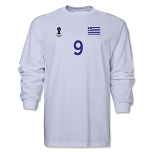 Greece 2014 FIFA World Cup Brazil(TM) Men's LS Number 9 T-Shirt (White)