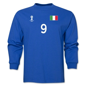 Italy 2014 FIFA World Cup Brazil(TM) Men's LS Number 9 T-Shirt (Royal)